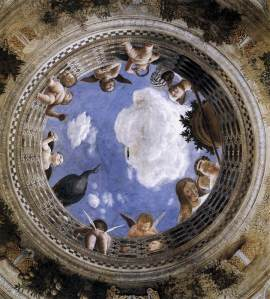 """""""Oculus no teto da Câmara dos Esposos"""", Palácio Ducal, Mântua."""